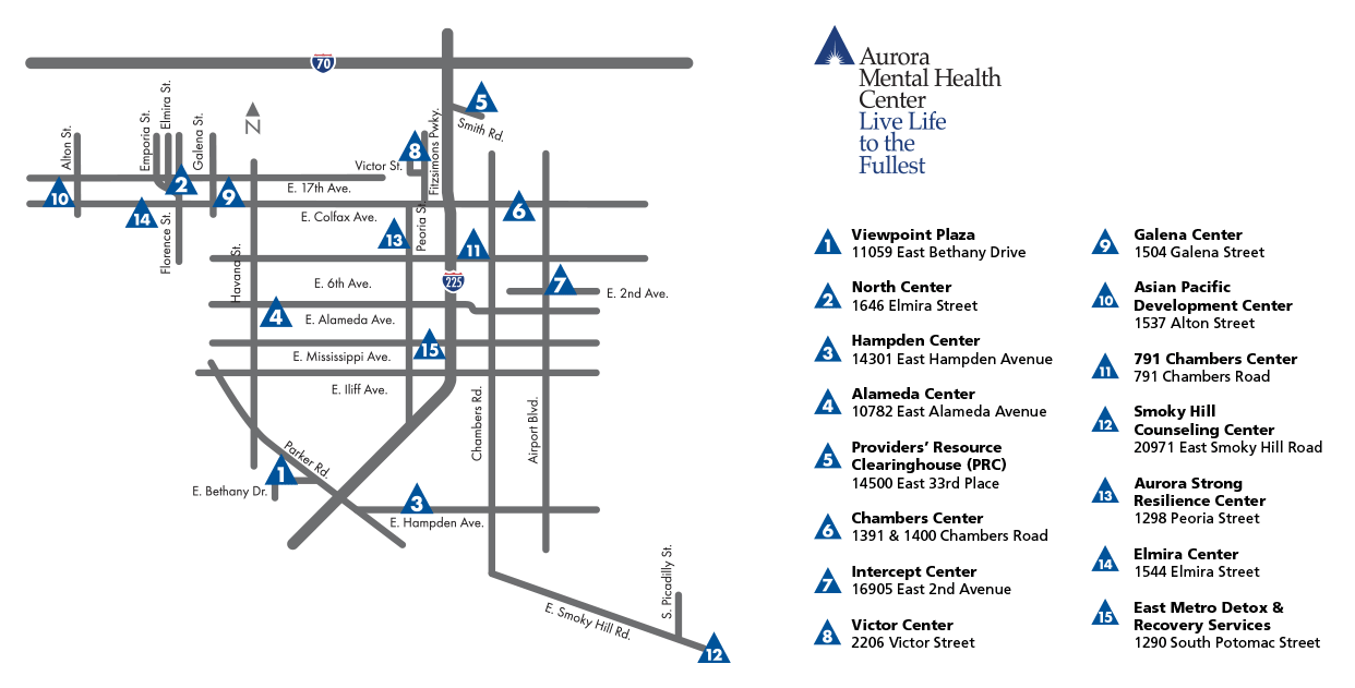 Map of Aurora Mental Health Center Locations